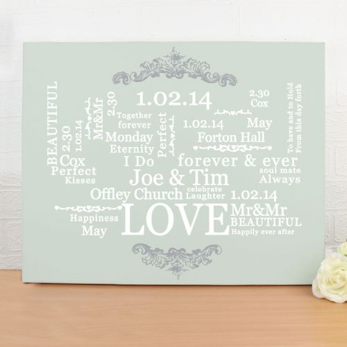 Personalised Wedding Typographic Art Canvas